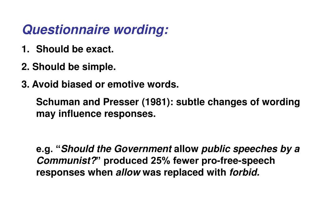 Questionnaire wording: