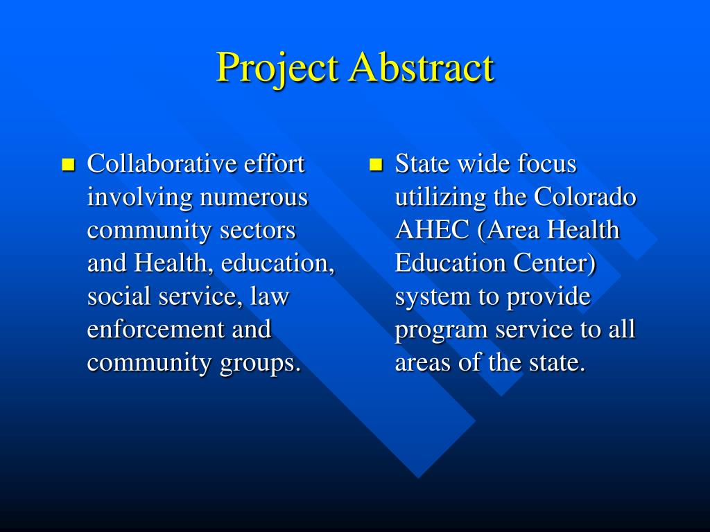 Collaborative effort involving numerous community sectors and Health, education, social service, law enforcement and community groups.