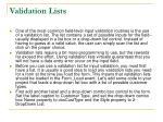 validation lists