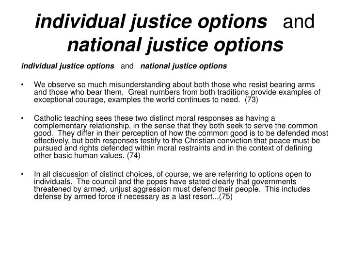 individual justice options