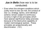 jus in bello how war is to be conducted