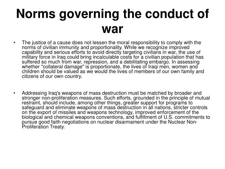 Norms governing the conduct of war