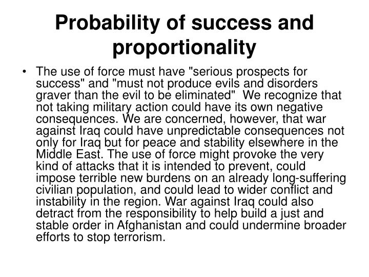 Probability of success and proportionality