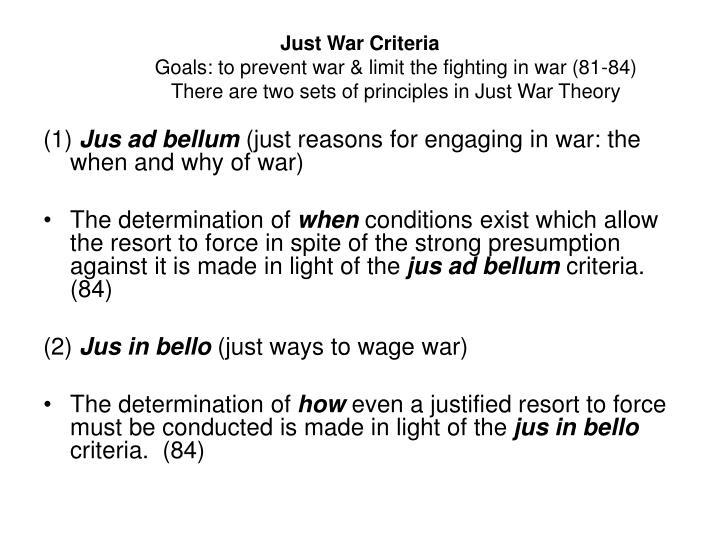 Just War Criteria