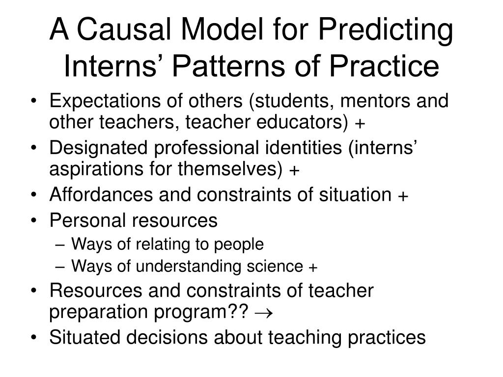A Causal Model for Predicting Interns' Patterns of Practice