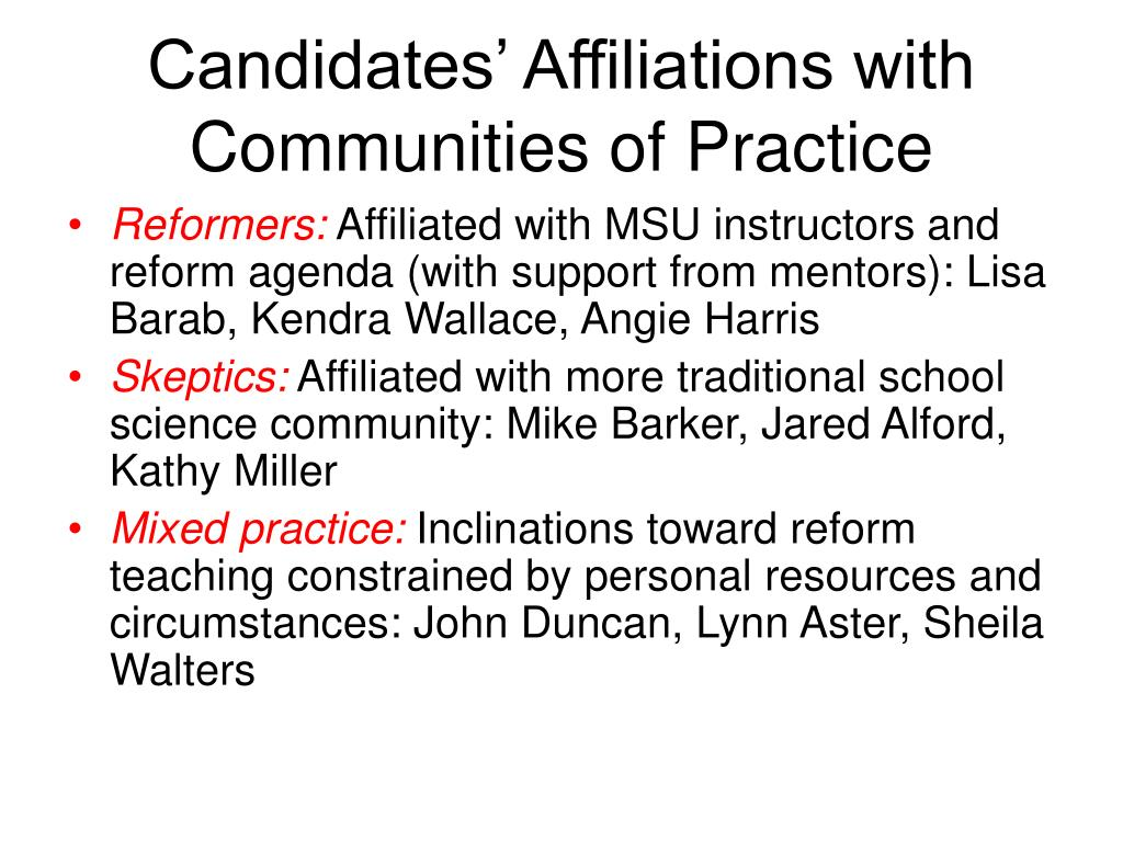 Candidates' Affiliations with Communities of Practice