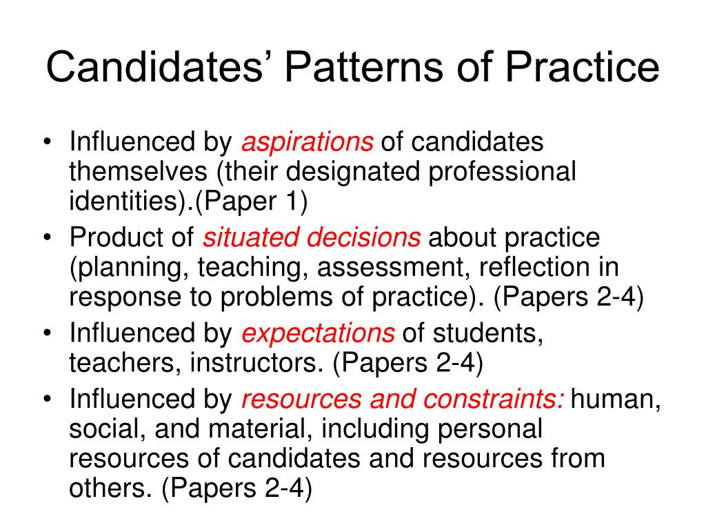 Candidates' Patterns of Practice