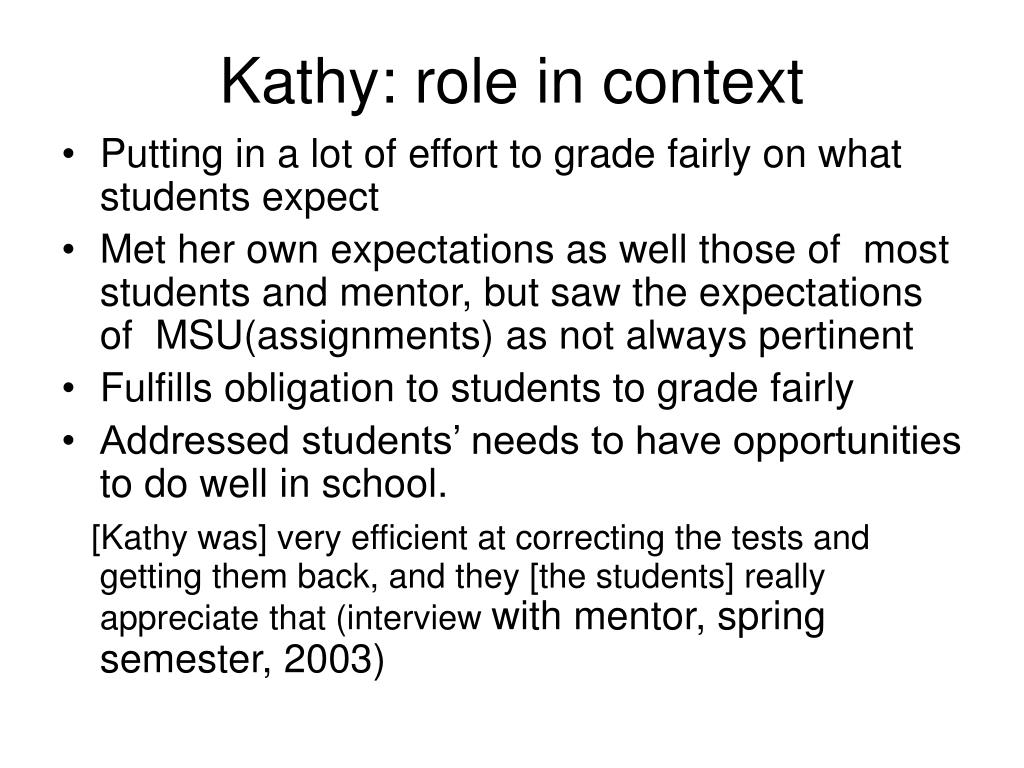 Kathy: role in context