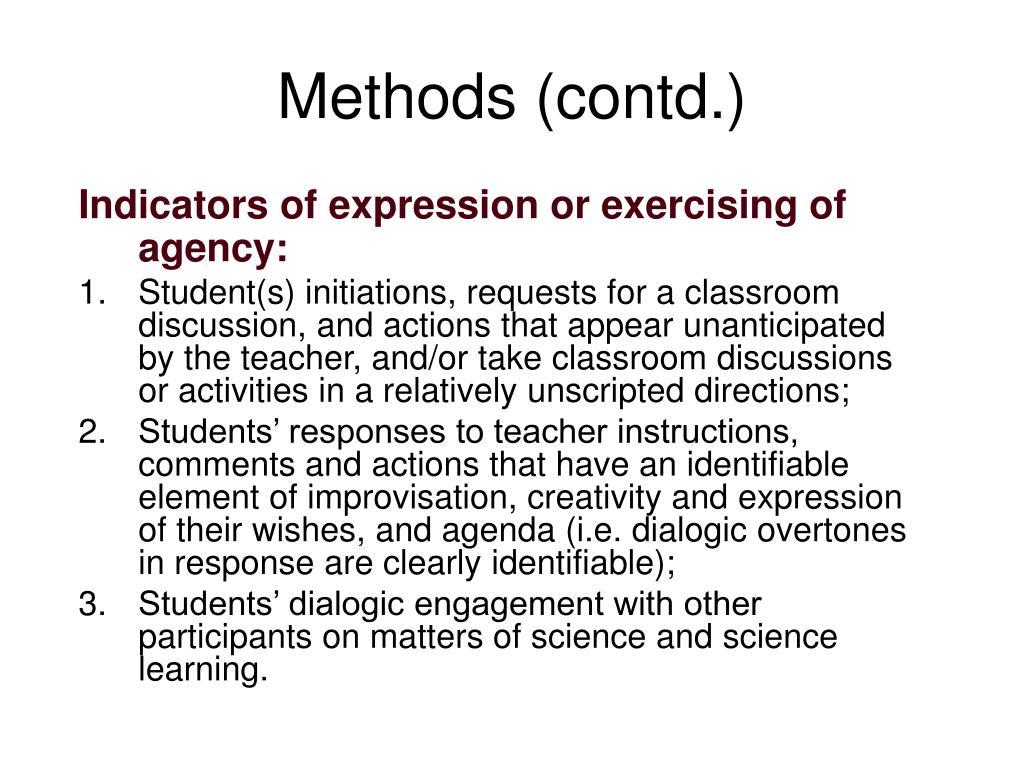 Methods (contd.)