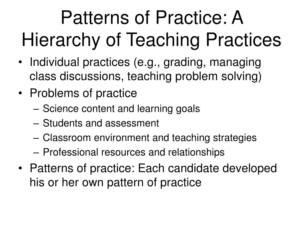 Patterns of Practice: A Hierarchy of Teaching Practices