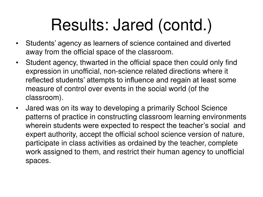 Results: Jared (contd.)