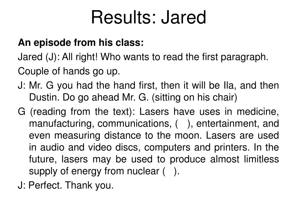 Results: Jared