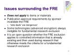 issues surrounding the fre