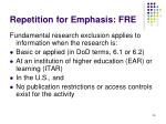 repetition for emphasis fre