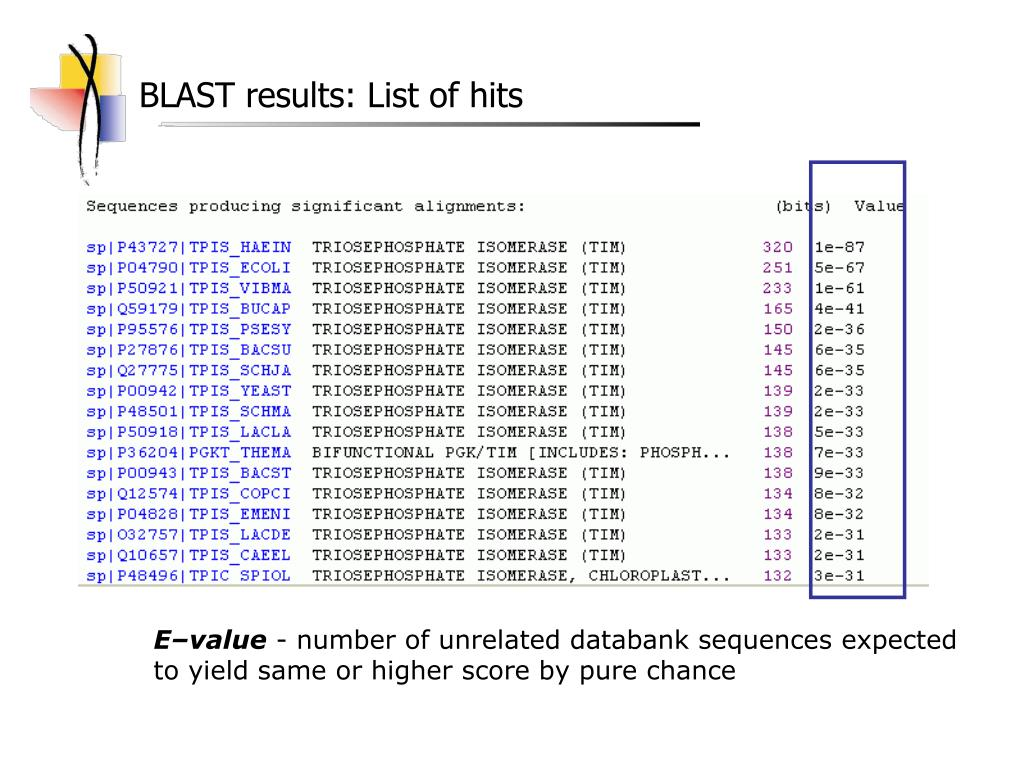 BLAST results: List of hits