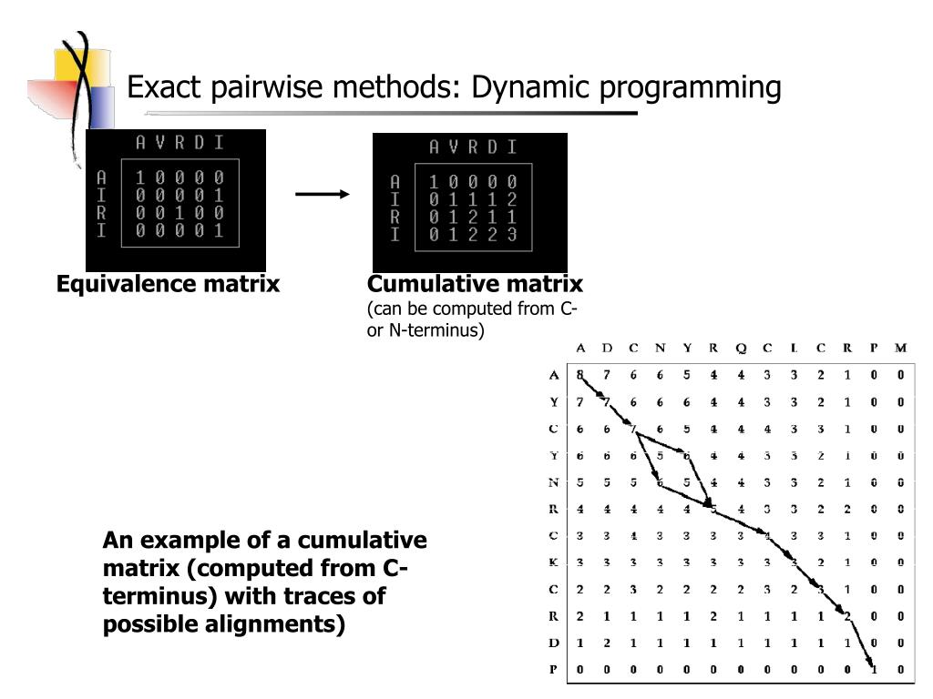 Exact pairwise methods: Dynamic programming
