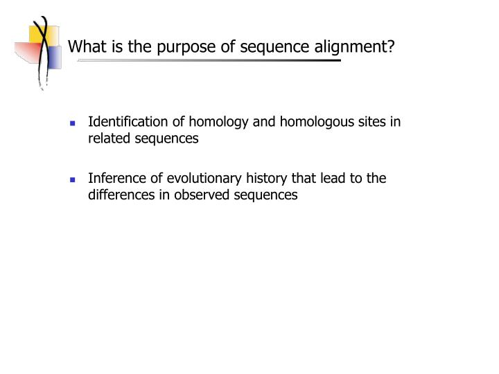 What is the purpose of sequence alignment l.jpg