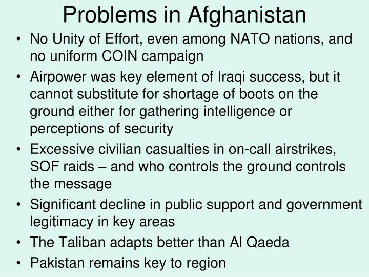 Problems in Afghanistan