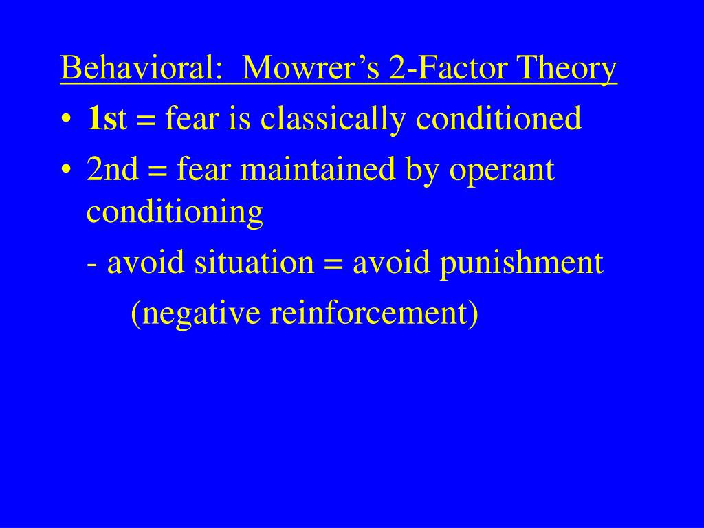 Behavioral:  Mowrer's 2-Factor Theory
