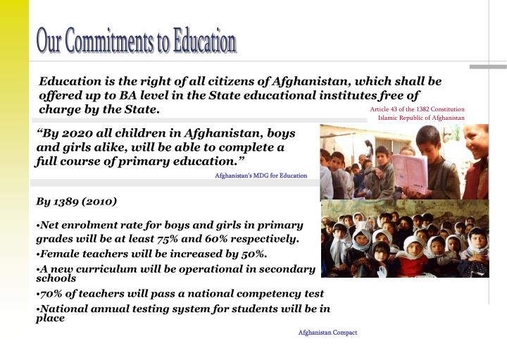 Our Commitments to Education