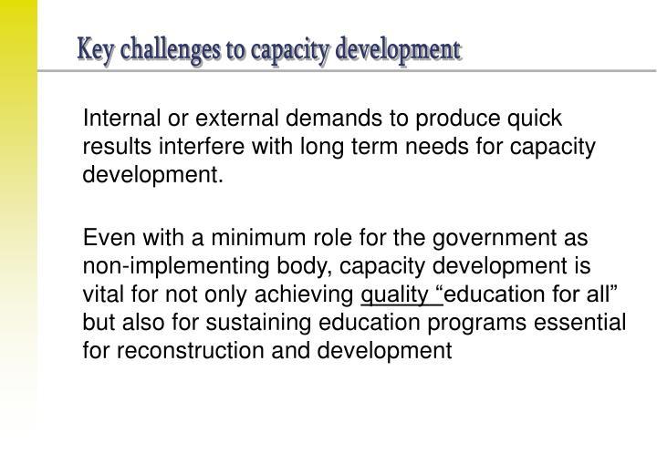 Key challenges to capacity development