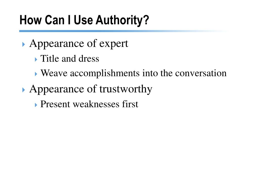 How Can I Use Authority?