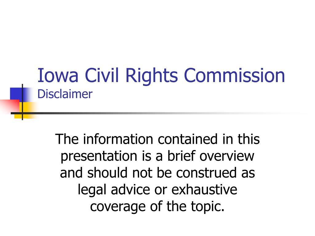 iowa civil rights commission disclaimer