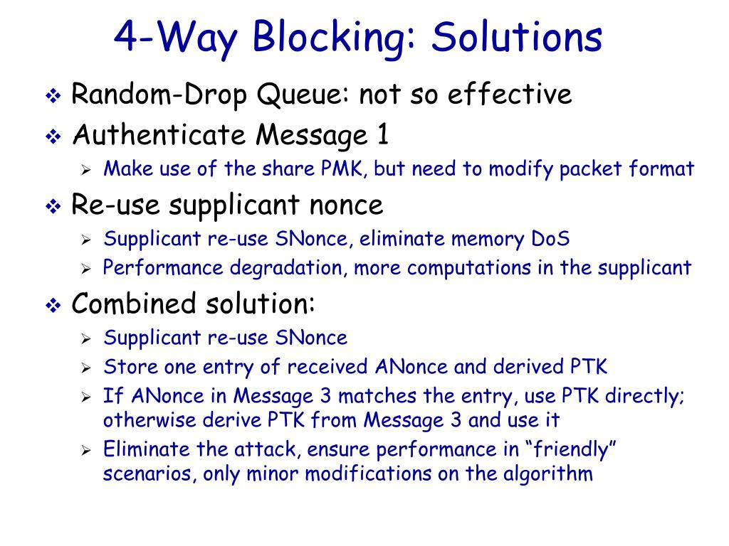 4-Way Blocking: Solutions