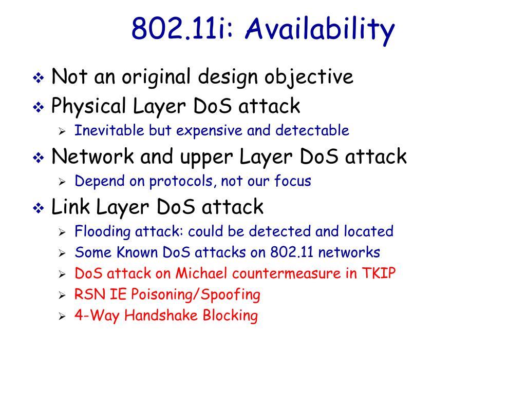 802.11i: Availability