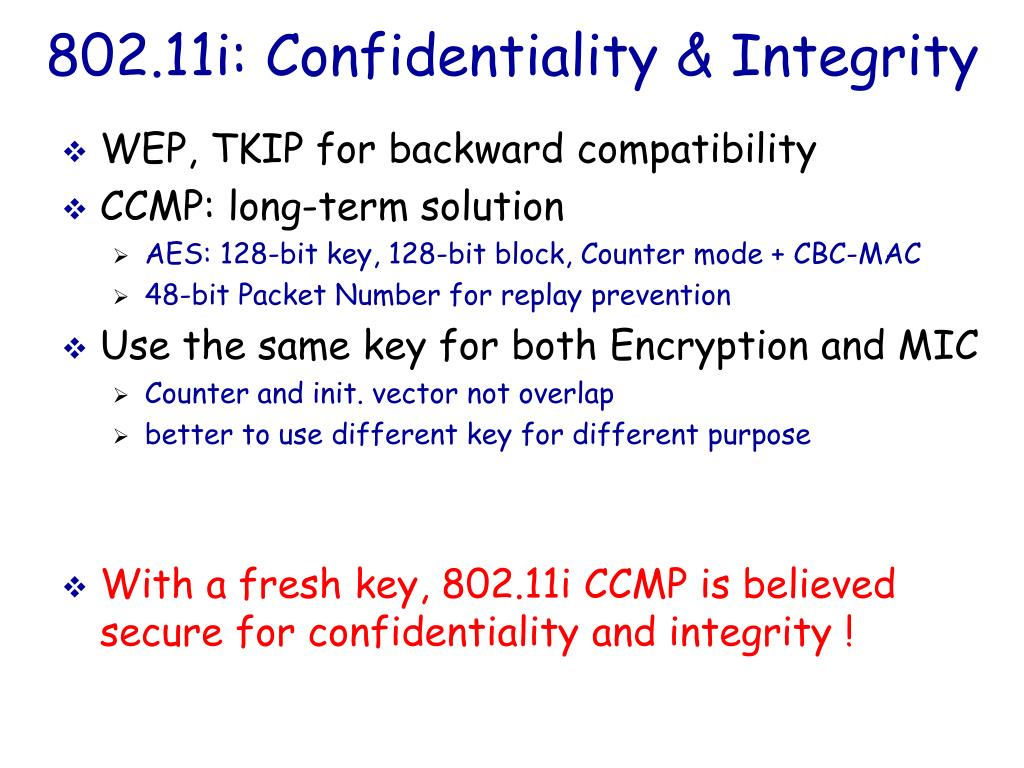 802.11i: Confidentiality & Integrity