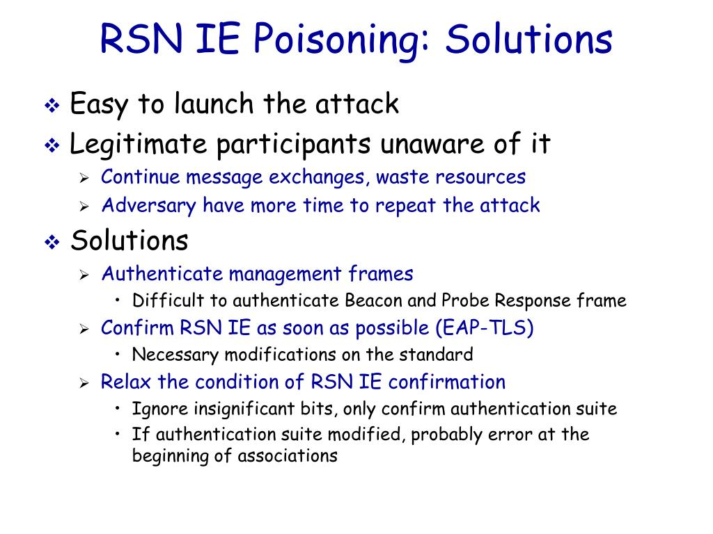 RSN IE Poisoning: Solutions
