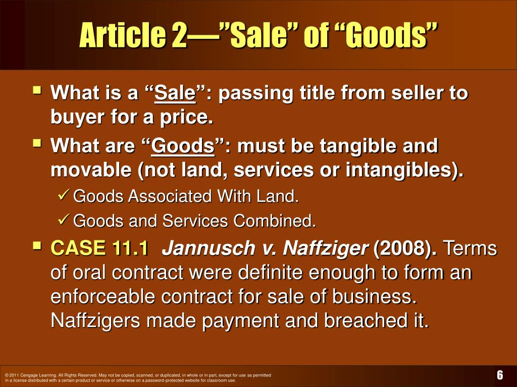 "Article 2—""Sale"" of ""Goods"""