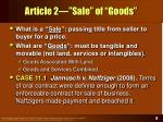 article 2 sale of goods