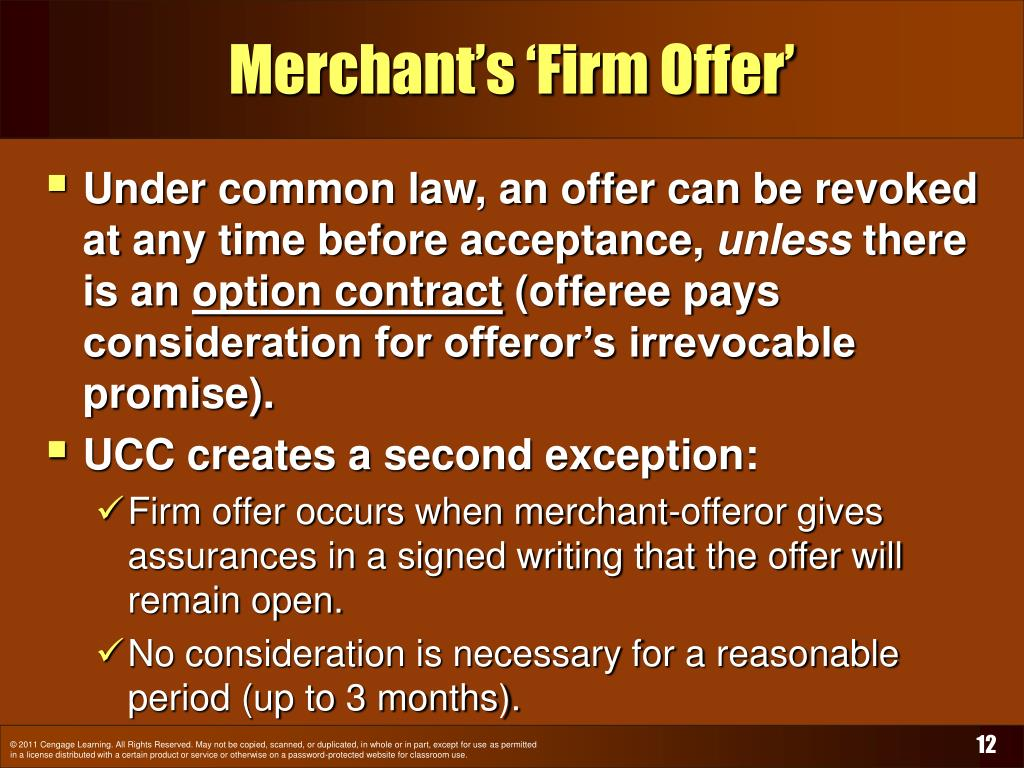 Merchant's 'Firm Offer'