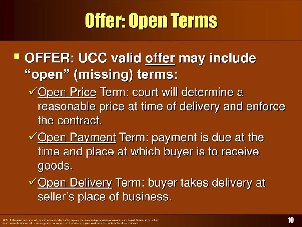 Offer: Open Terms