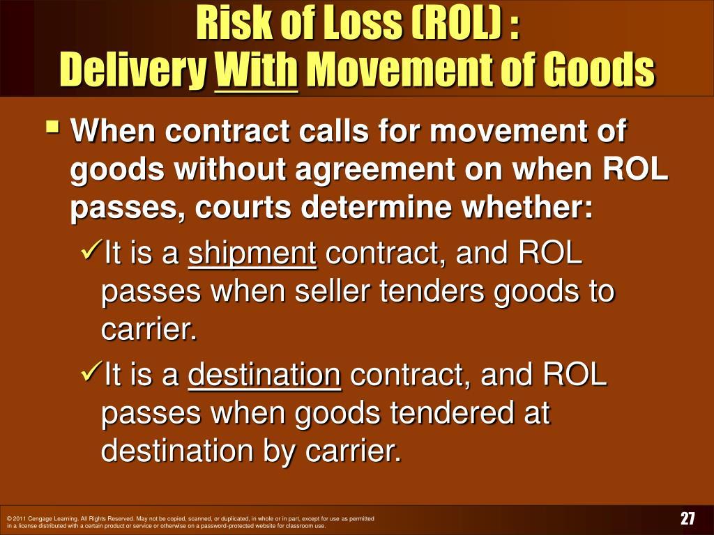 Risk of Loss (ROL) :
