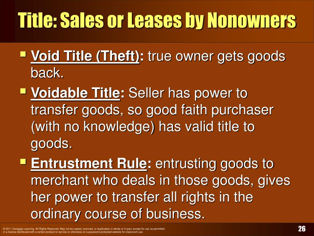 Title: Sales or Leases by Nonowners