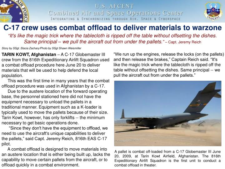 C 17 crew uses combat offload to deliver materials to warzone