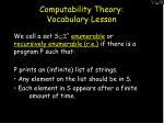 computability theory vocabulary lesson61