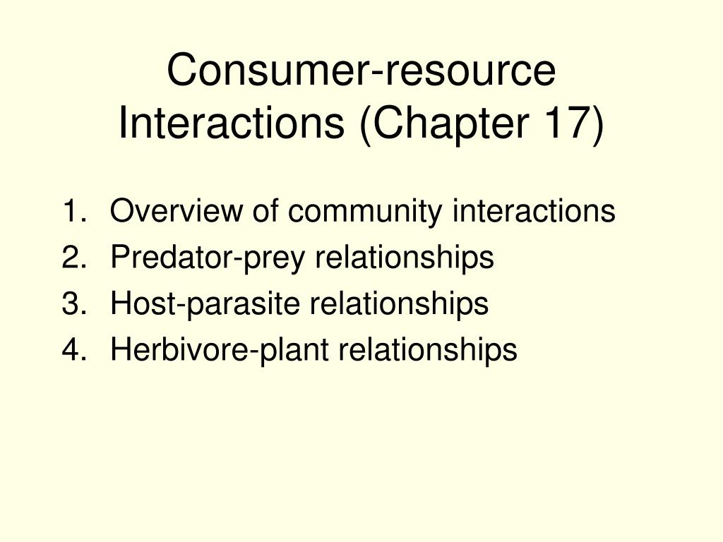 consumer resource interactions chapter 17