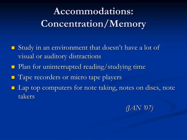 Accommodations: