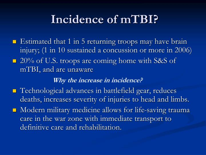 Incidence of mTBI?