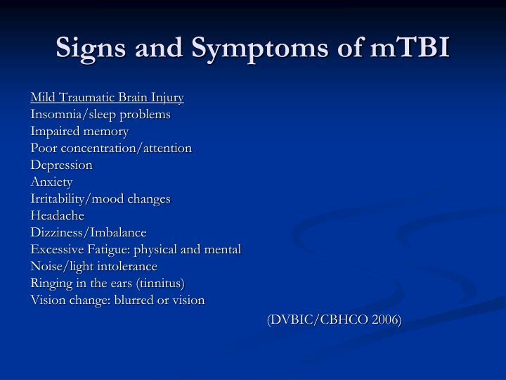 Signs and Symptoms of mTBI