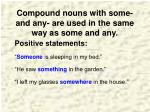 compound nouns with some and any are used in the same way as some and any
