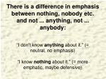 there is a difference in emphasis between nothing nobody etc and not anything not anybody