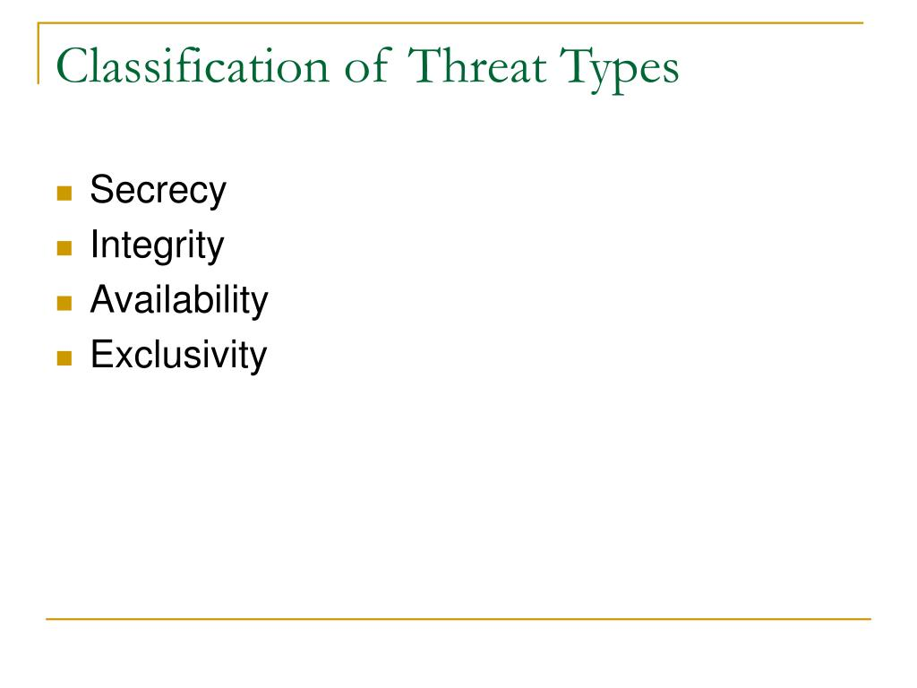 Classification of Threat Types