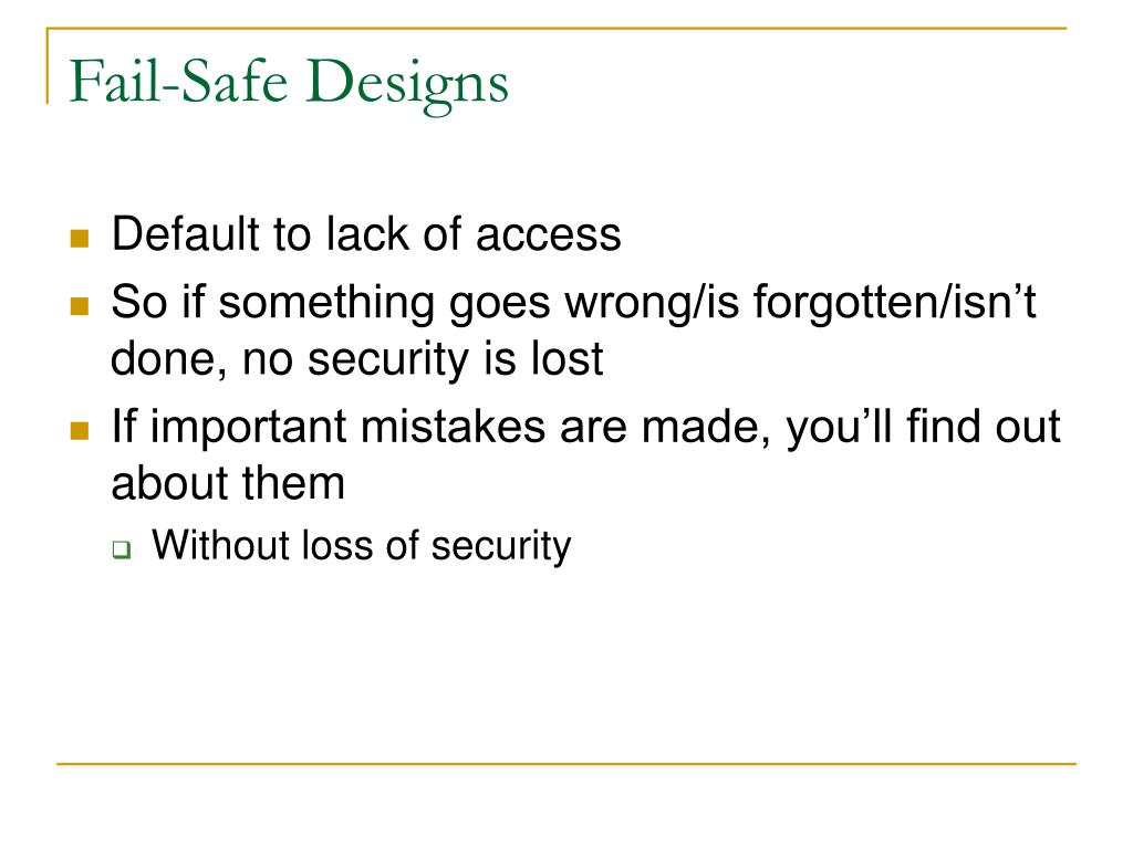 Fail-Safe Designs