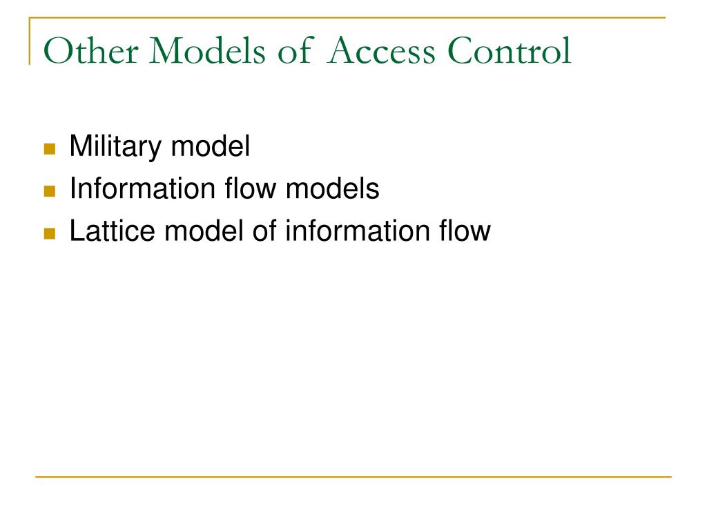 Other Models of Access Control