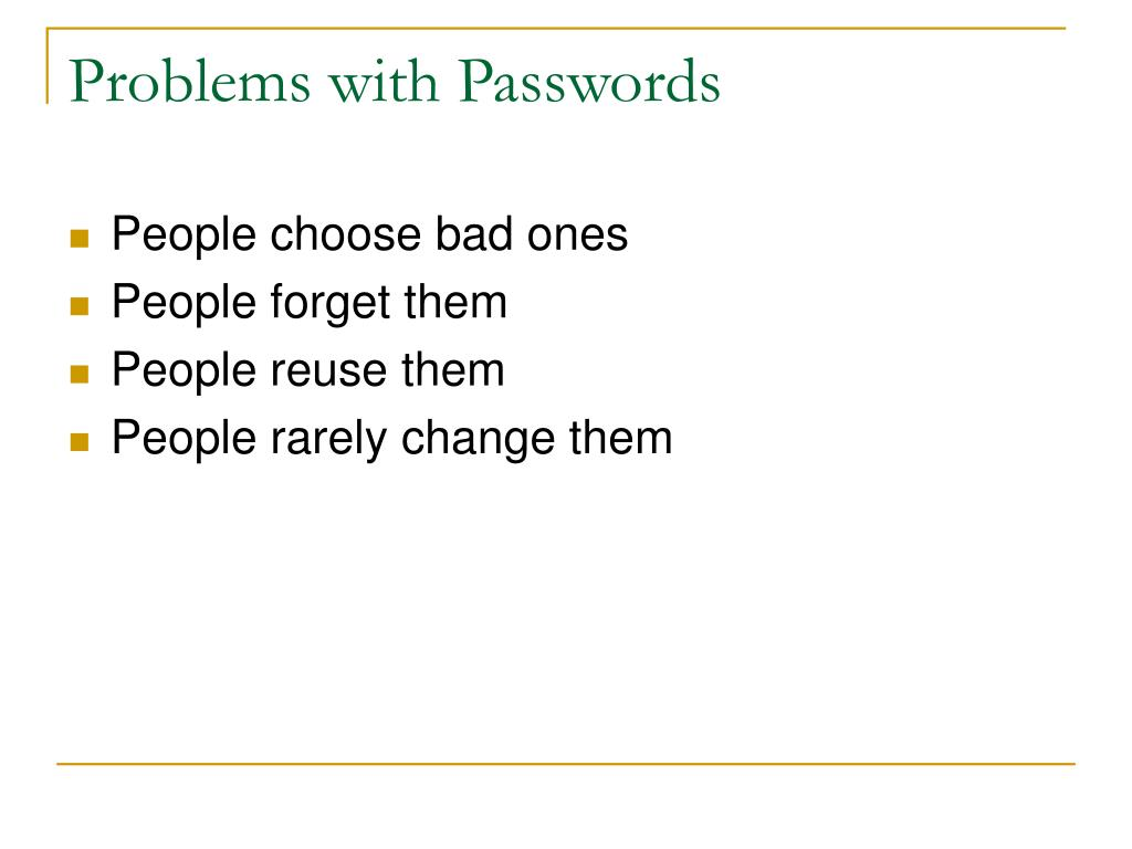 Problems with Passwords