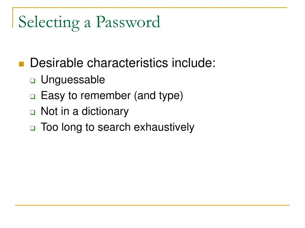 Selecting a Password